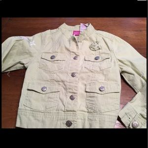 Girls Green Tinkerbell Jacket Disney Sz 6/6X EUC